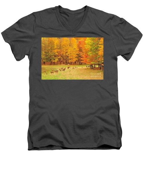 White Tail Deer Herd Men's V-Neck T-Shirt by Terri Gostola