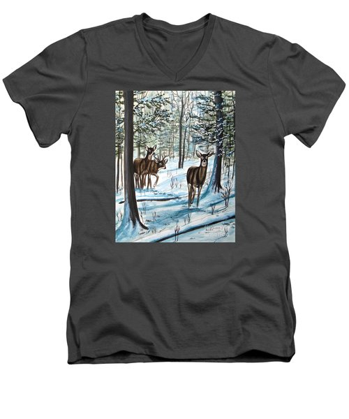 White Tail Deer In Winter Men's V-Neck T-Shirt by Patricia L Davidson