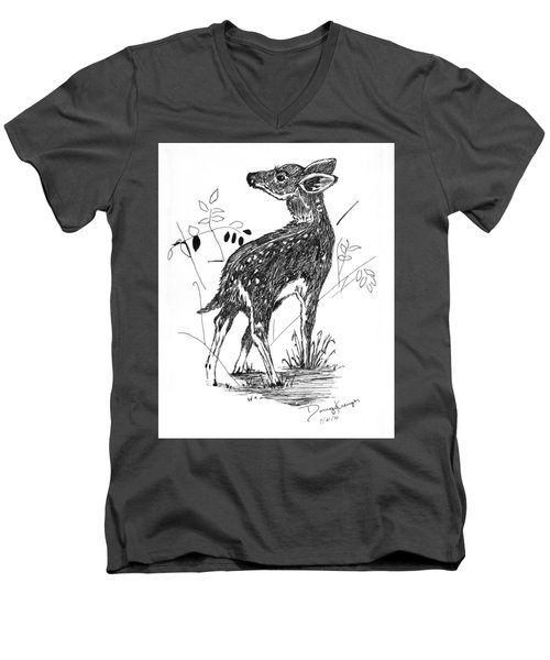 White-tail Fawn -pen And Ink Men's V-Neck T-Shirt by Doug Kreuger