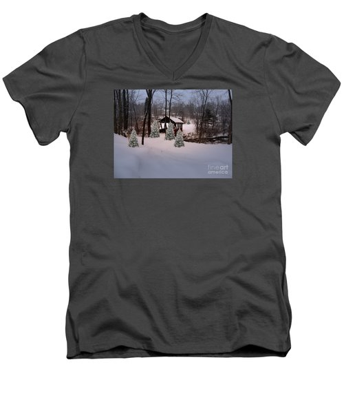 White Tailed Buck At Belmont N H Covered Bridge Men's V-Neck T-Shirt by Mim White