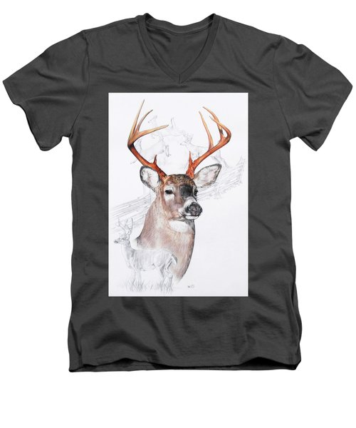 White-tailed Deer Men's V-Neck T-Shirt by Barbara Keith