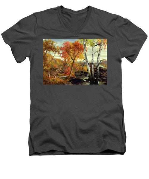 White-tailed Deer In The Poconos Men's V-Neck T-Shirt