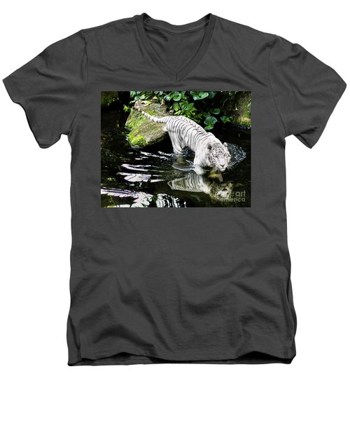 White Tiger Men's V-Neck T-Shirt by M G Whittingham