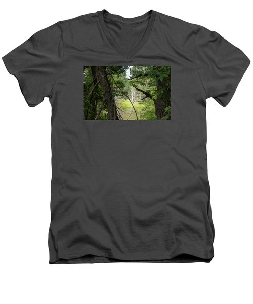 White Tree In Magic Forest Men's V-Neck T-Shirt