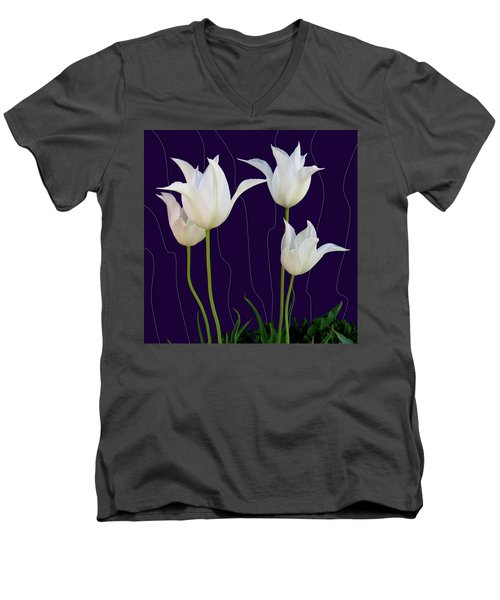 White Tulips For A New Age Men's V-Neck T-Shirt