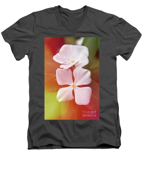 White Vinca With Vivid Highligts  Men's V-Neck T-Shirt