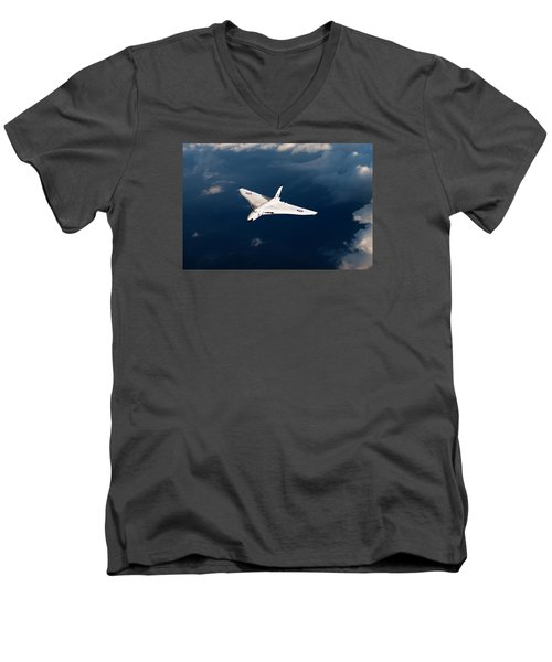 White Vulcan B1 At Altitude Men's V-Neck T-Shirt by Gary Eason
