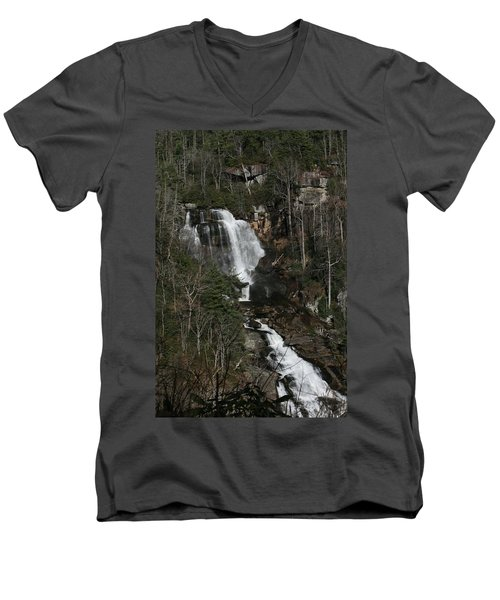 Whitewater Falls Men's V-Neck T-Shirt by Cathy Harper