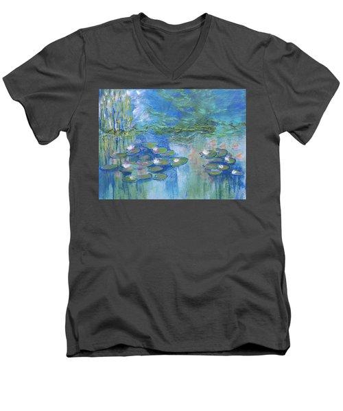 White Water Lilies Men's V-Neck T-Shirt