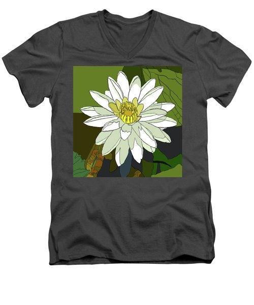 White Water Lily Men's V-Neck T-Shirt by Jamie Downs