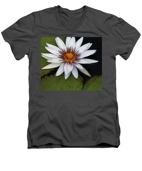 White Water Lily Men's V-Neck T-Shirt by Yvonne Wright