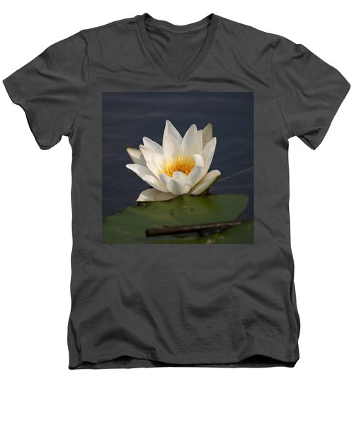 Men's V-Neck T-Shirt featuring the photograph White Waterlily 1 by Jouko Lehto