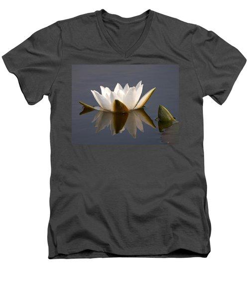 Men's V-Neck T-Shirt featuring the photograph White Waterlily 2 by Jouko Lehto