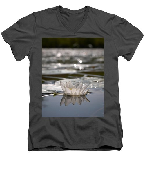 Men's V-Neck T-Shirt featuring the photograph White Waterlily 3 by Jouko Lehto