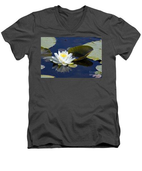 White Waterlily Men's V-Neck T-Shirt