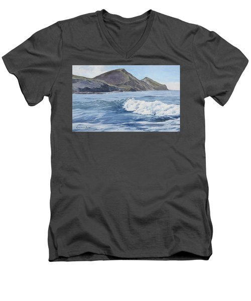 Men's V-Neck T-Shirt featuring the painting White Wave At Crackington  by Lawrence Dyer
