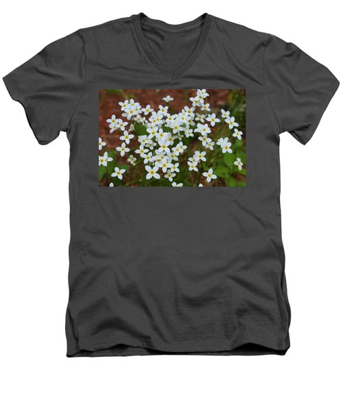 Men's V-Neck T-Shirt featuring the digital art White Wildflowers by Barbara S Nickerson