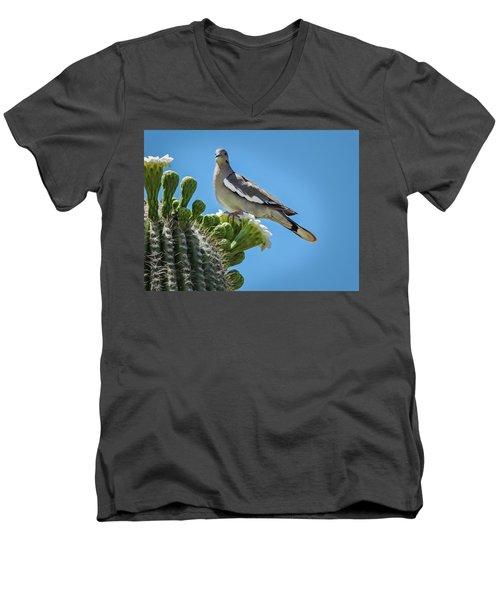 White Winged Dove On Cactus Flower Men's V-Neck T-Shirt