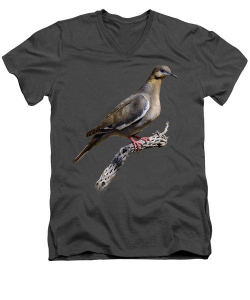 White-winged Dove V53 Men's V-Neck T-Shirt by Mark Myhaver