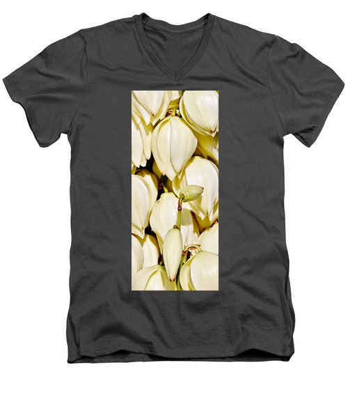 white Yucca flowers Men's V-Neck T-Shirt by Werner Lehmann