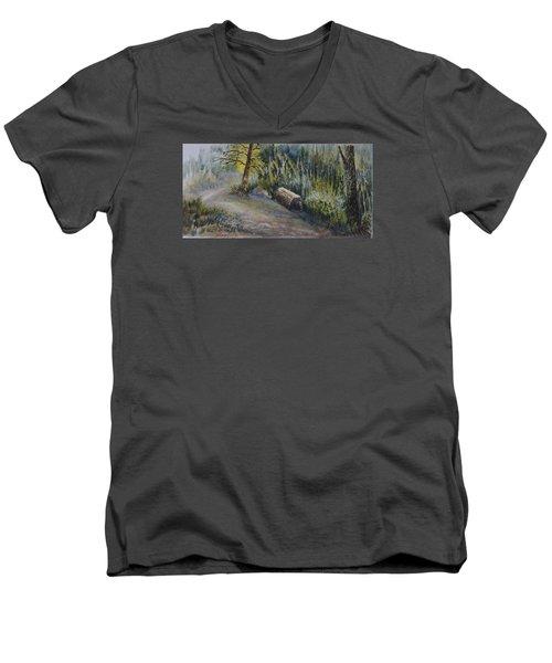 Whiteshell Trail Men's V-Neck T-Shirt by Joanne Smoley