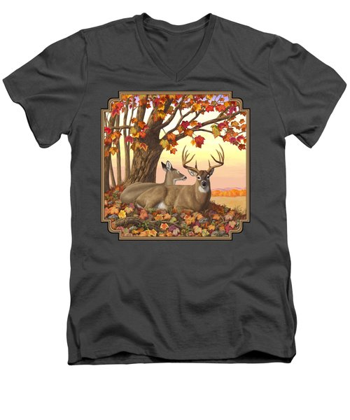 Whitetail Deer - Hilltop Retreat Men's V-Neck T-Shirt