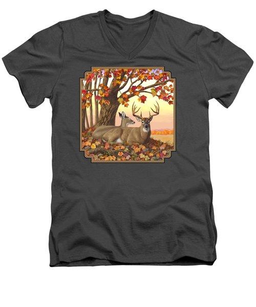 Whitetail Deer - Hilltop Retreat Men's V-Neck T-Shirt