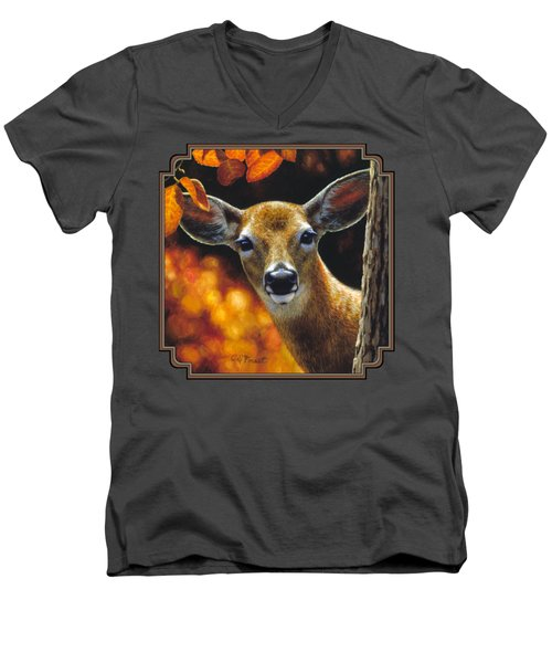 Whitetail Deer - Surprise Men's V-Neck T-Shirt by Crista Forest