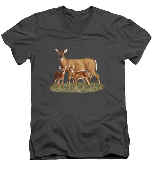 Whitetail Doe And Fawns - Mom's Little Spring Blossoms Men's V-Neck T-Shirt by Crista Forest