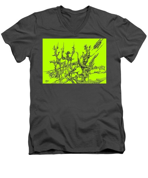 Whooshh -  Lime Background Men's V-Neck T-Shirt by Charles Cater