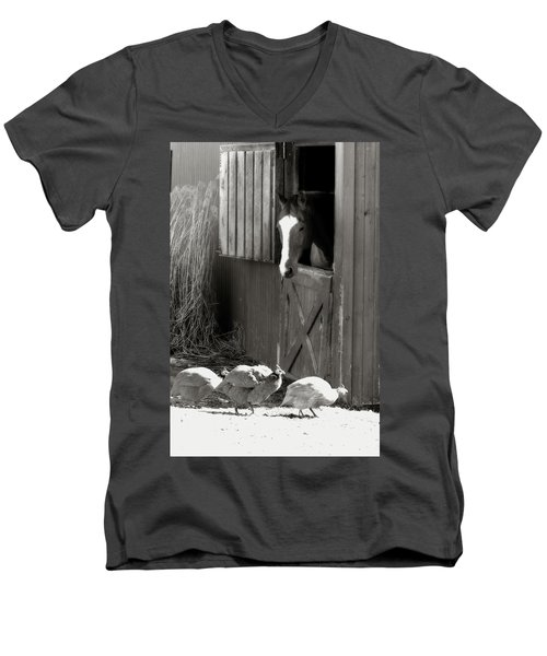 Why Did The Guinea Hen Cross The Road - Sepia Men's V-Neck T-Shirt by Angela Rath