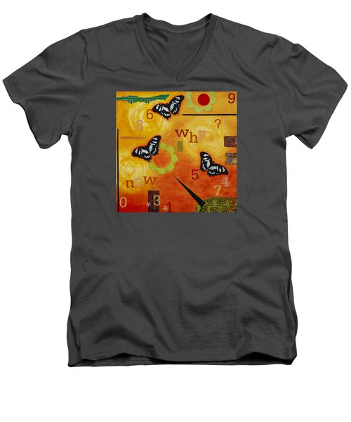 Men's V-Neck T-Shirt featuring the mixed media Why by Gloria Rothrock