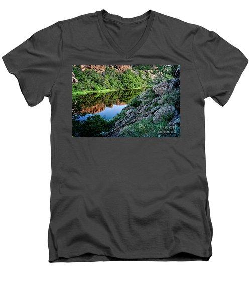 Wichita Mountain River Men's V-Neck T-Shirt by Tamyra Ayles