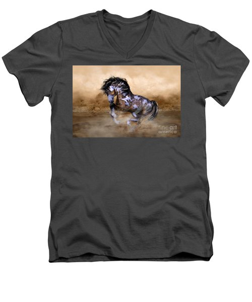 Men's V-Neck T-Shirt featuring the digital art Wild And Free Horse Art by Shanina Conway
