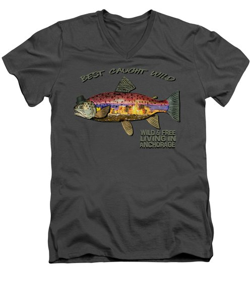 Men's V-Neck T-Shirt featuring the digital art Wild And Free In Anchorage-trout With Hat by Elaine Ossipov