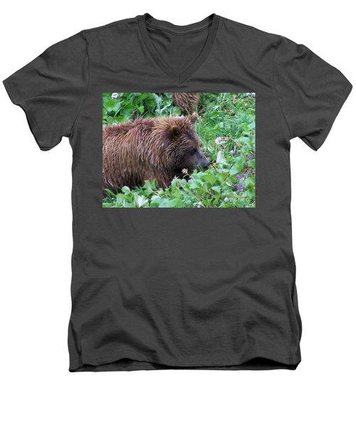 Wild Bear Eating Berries  Men's V-Neck T-Shirt by Kathy  White