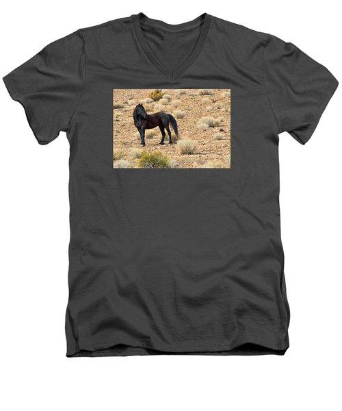 Wild Black Mustang Stallion Men's V-Neck T-Shirt