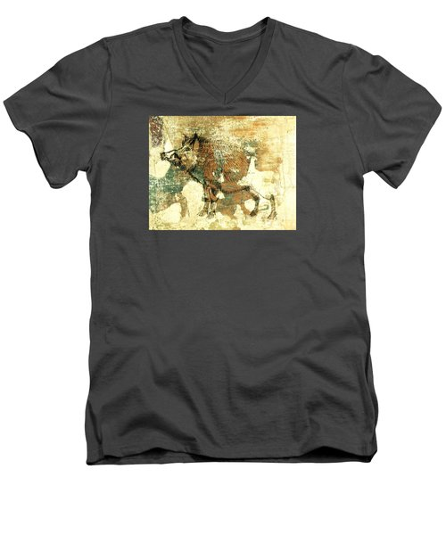 Wild Boar Cave Painting 1 Men's V-Neck T-Shirt by Larry Campbell