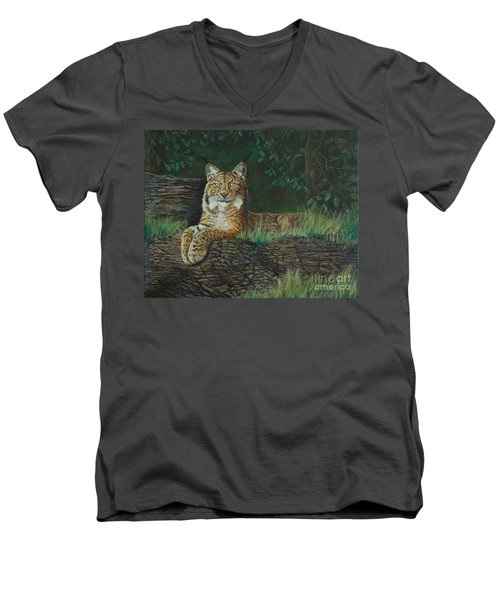 The Ever Watchful Lynx Men's V-Neck T-Shirt