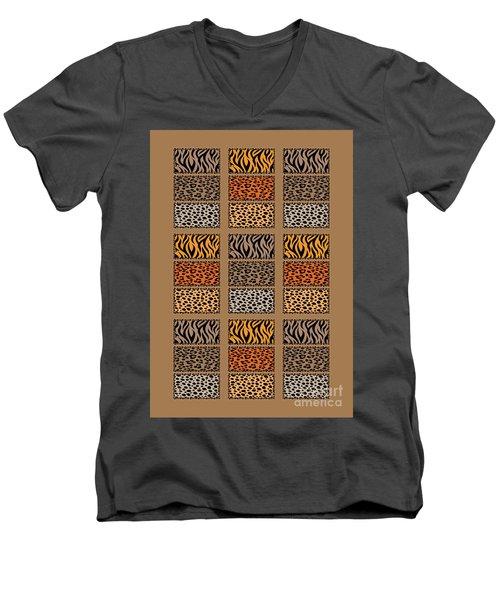 Wild Cats Patchwork Men's V-Neck T-Shirt