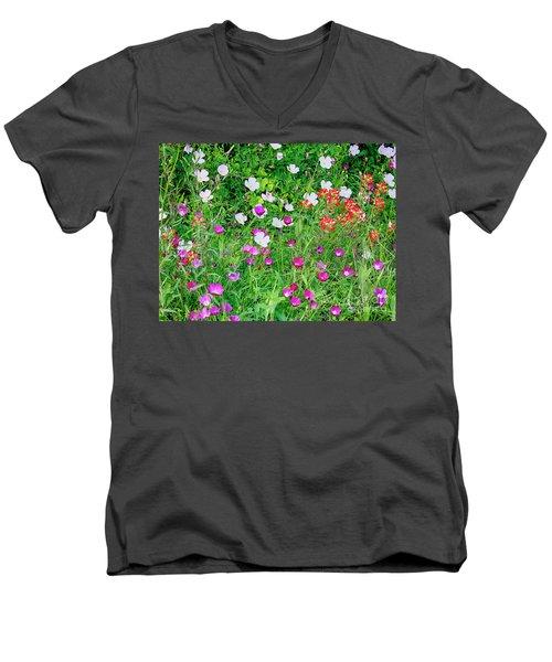 Wild Color Patch Men's V-Neck T-Shirt
