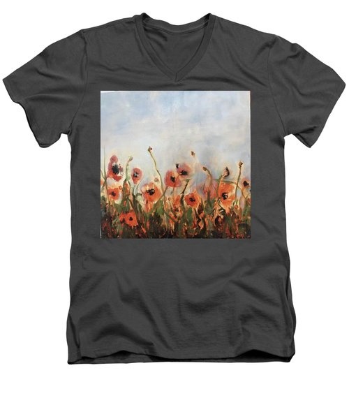Wild Corn Poppies Underpainting Men's V-Neck T-Shirt