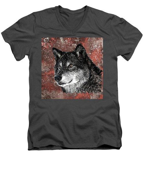 Wild Dark Wolf Men's V-Neck T-Shirt