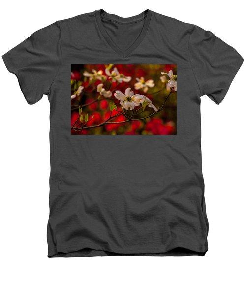 Wild Dogwood And Red Azaleas Men's V-Neck T-Shirt