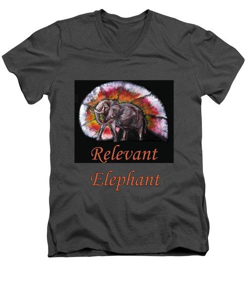 Wild Elephant Men's V-Neck T-Shirt by Tom Conway