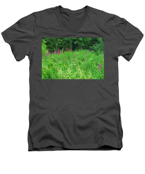 Wild Flowers And Shrubs In Vogelsberg Men's V-Neck T-Shirt