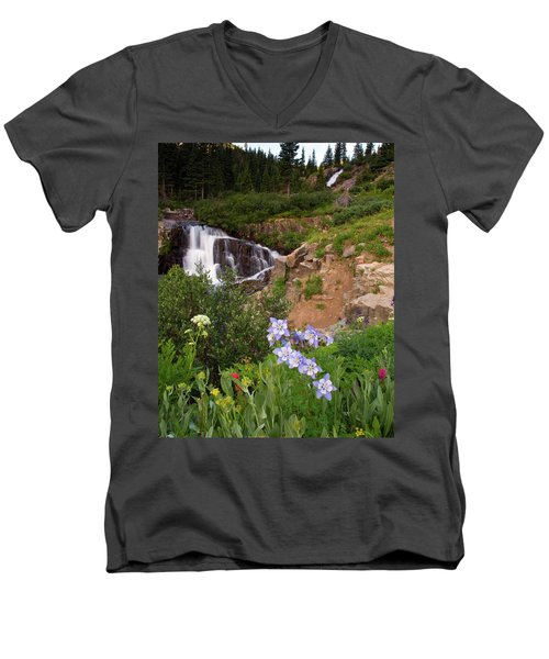 Men's V-Neck T-Shirt featuring the photograph Wild Flowers And Waterfalls by Steve Stuller