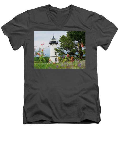 Wild Flowers On Rock Island Men's V-Neck T-Shirt