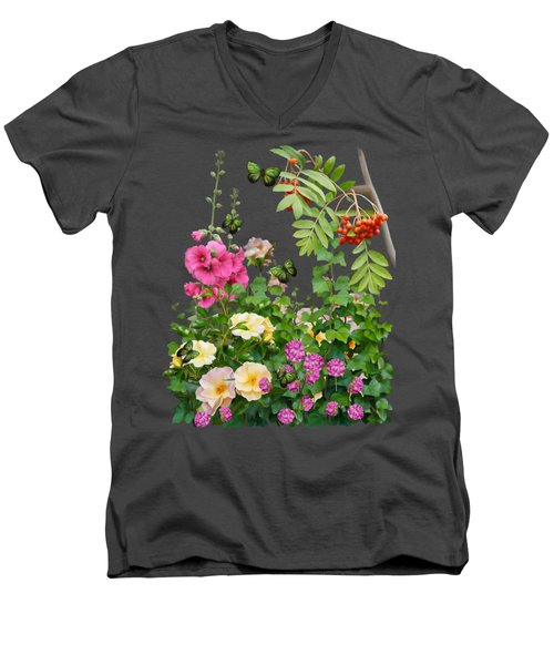 Men's V-Neck T-Shirt featuring the painting Wild Garden by Ivana Westin