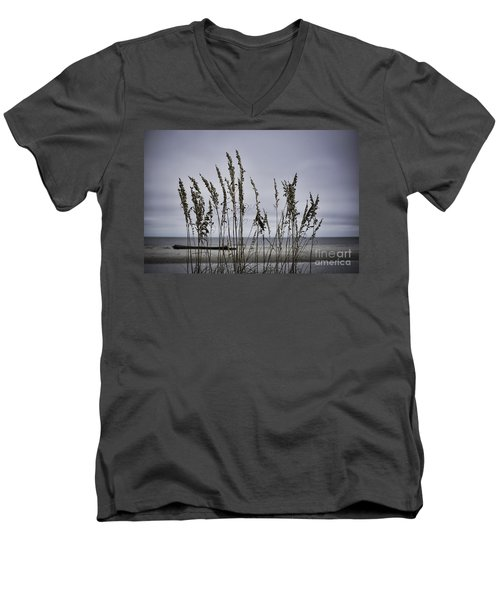 Men's V-Neck T-Shirt featuring the photograph Wild Grasses by Judy Wolinsky